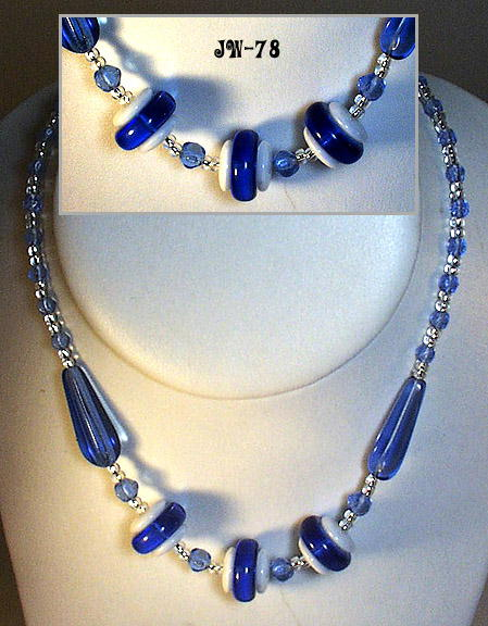 CZECH ART DECO BLUE & WHITE NECKLACE 1930's