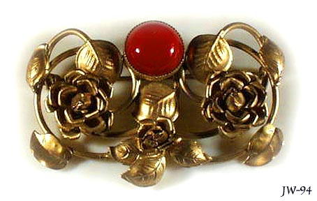 CZECH VINTAGE CARNELIAN  GLASS BROOCH #94