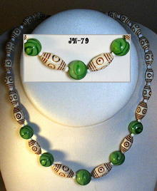 CZECH ART DECO KING TUT GREEN NECKLACE 1930's
