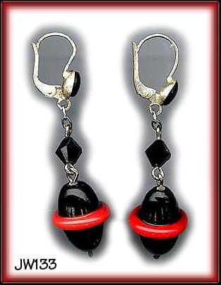 ART DECO SATURN LAMPWORK BEAD EARRINGS #133