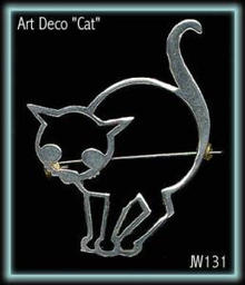 STUNNING ART DECO CAT BROOCH 1930'S