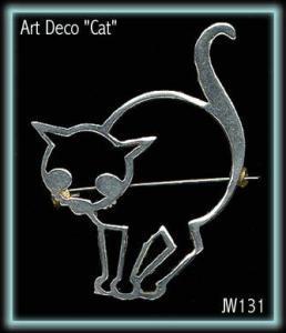 STUNNING ART DECO CAT BROOCH 1930'S