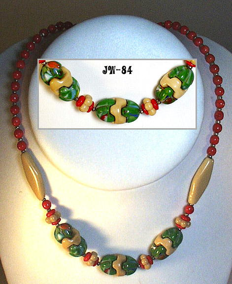 2 CZECH ART DECO MULTICOLOR GLASS NECKLACES 1930
