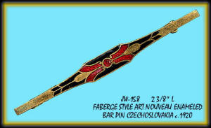 FABERGE STYLE ENAMELED BAR PIN CZECH 1920's