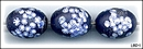 3 LAMPWORK BLUE MILLEFIORI ELLIPSOI  BEADS #1