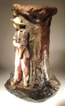 AMPHORA SCULPTURE VASE COAL MINER