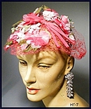 GREAT VINTAGE PINK FLORAL LADIES HAT 40's #7