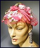 GREAT VINTAGE PINK FLORAL LADIES HAT 40's #7