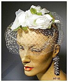 GREAT VINTAGE WHITE ROSES LADIES HAT 40's #15