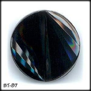 10 BLACK GLASS BUTTONS 50's #87