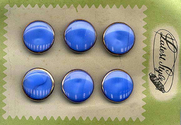6 BLUE MOONGLOW GLASS  BUTTONS ORIGINAL CARD