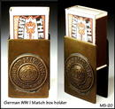 GERMAN WWI BRASS TRENCH ART MATCH COVER / MS020