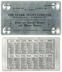 1908 STARR PIANO BUSINESS CARD / CALENDAR / MS046