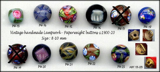 9 ANTIQUE PAPERWEIGHT BUTTONS c1900 ABT13-23