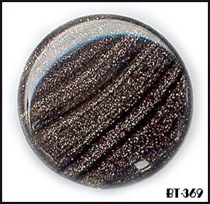 6 BLACK VINT AVENTURINE GLASS BUTTONS 50's BT369
