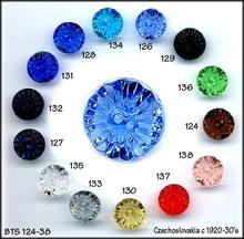 VINTAGE CUT GLASS BUTTONS 10 COLORS BTS124-38D