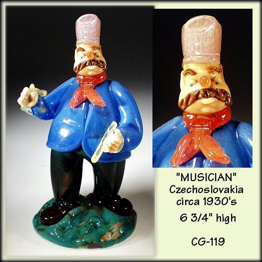 CZECH VINTAGE ART GLASS MUSICIAN FIGURINE CYMBALS / CG119