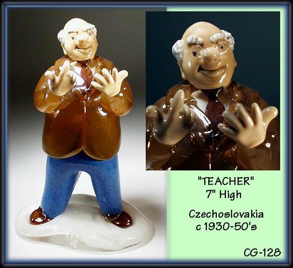 CZECH VINTAGE ART GLASS TEACHER FIGURINE /