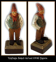 OLD HAND CARVED WOOD ANRI POLYCHROME FIGURINE