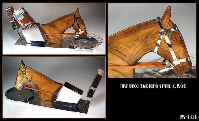 ART DECO HORSE CHROME SMOKING SET / MS133S
