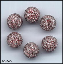 6 RARE VINT RED GLASS CORALENE BEADS 9mm #348