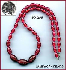 CZECH LAMPWORK BURGUNDY GLASS NECKLACE #265