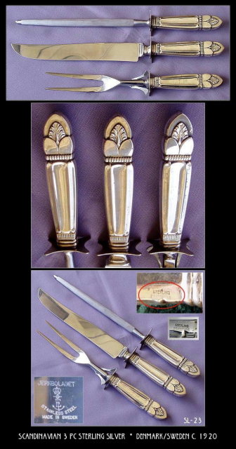 LARGE 3 PIECE VINTAGE CARVING SET STERLING