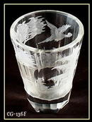 6 OLD ENGRAVED PHEASANT JUICE GLASS MOSER