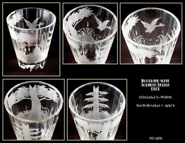 6 OLD ENGRAVED DUCK LARGE JUICE GLASS MOSER