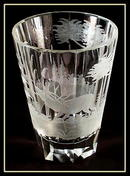OLD ENGRAVED DEER BEAKER/VASE MOSER DEER