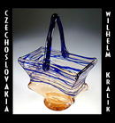 CZECH ART DECO GLASS BASKET KRALIK / CG072