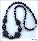 CZECH ART DECO BLACK MAPLE LEAF  NECKLACE 1930 #81