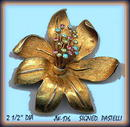 VINTAGE FLOWER BROOCH SIGNED PASTELLI #176