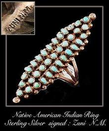 VINTAGE AMERICAN INDIAN ZUNI SILVER RING #71
