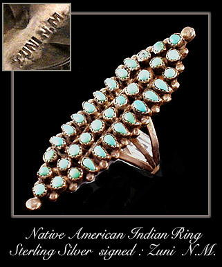 VINTAGE AMERICAN INDIAN ZUNI SILVER RING #71