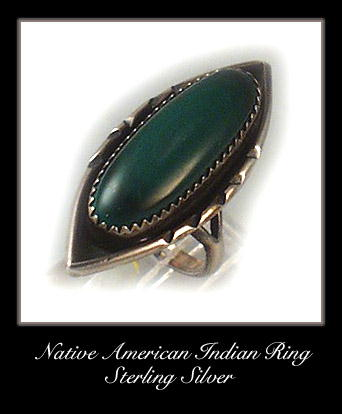 VINTAGE AMERICAN INDIAN SILVER MALACHITE RING #76