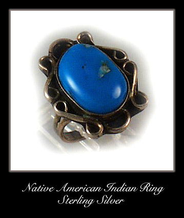 VINTAGE AMERICAN INDIAN SILVER TURQUOISE RING #77