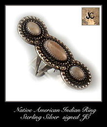 VINTAGE SIGNED AMERICAN INDIAN SILVER RING #78