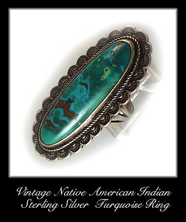 VINTAGE AMERICAN INDIAN SILVER TURQUOISE RING