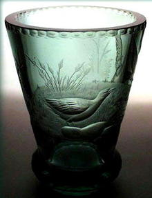 CZECH ART DECO ENGRAVED GLASS VASE 1920's