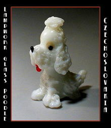 CZECH DRAWN GLASS WHITE POODLE
