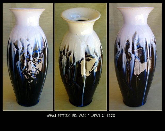 Large Japanese Awaji Pottery Iris Vase PT70
