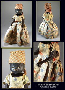 BLACK WOODEN DOLL FOLK ART c.1920