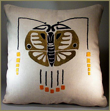 ARTS & CRAFTS MISSION EMBROIDERED MOTH PILLOW