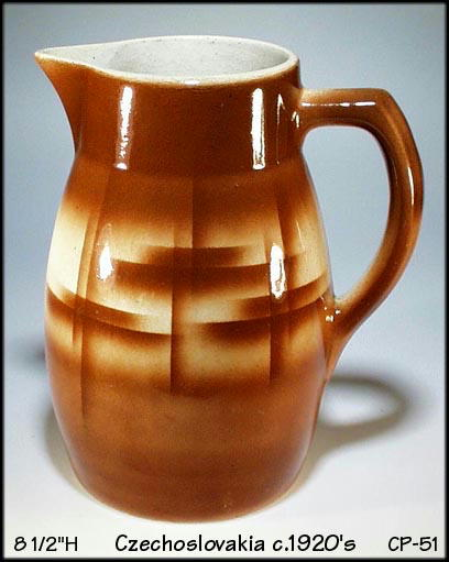 CZECH AIRBRUSH STONEWARE / POTTERY PITCHER /