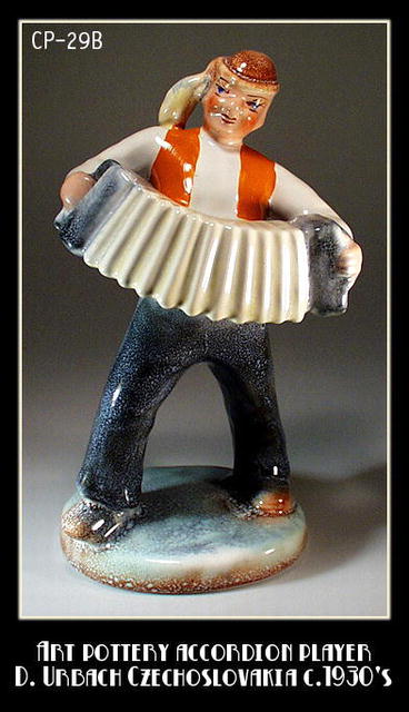 CZECH POTTERY ACCORDION PLAYER URBACH 1930's /