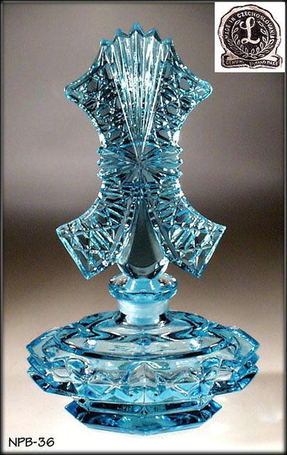 4 CZECH VINTAGE GLASS PERFUME BOTTLES /