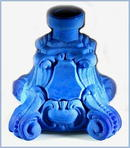 CZECH LAPIS COLOR GLASS PERFUME BOTTLE CHERUBS