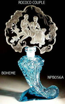 CZECH AQUAMARINE ROCOCO COUPLE PERFUME BOTTLE