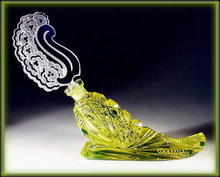 CZECH VASELINE GLASS HORN  PERFUME BOTTLE